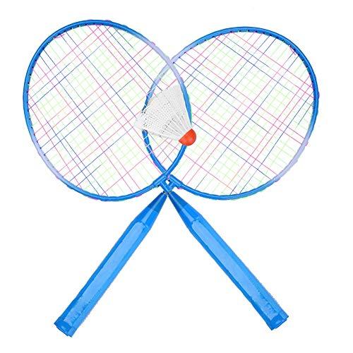 Nancunhuo Badmintonschläger Für Kids-2Colors Durable Nylon Alloy Badmintonschläger Schläger für Kinder Kinder Trainingspraxis (Farbe : Blau)