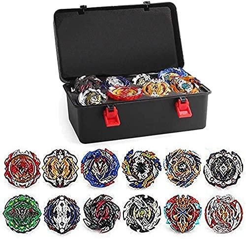 3T6B Peonzas Juguetes Conjunto, 12 PCS Turbo Burst Gyro Spinners y 2 Lanzador Set con Caja Portátil, Cumpleaños, Navidad Regalo, Juguetes Niños (Gris)