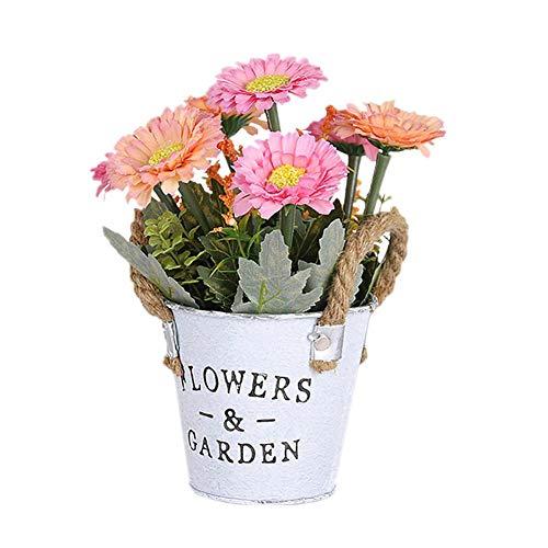 Demarkt kunstplant met retro ijzeren bloempot 27*11cm roze