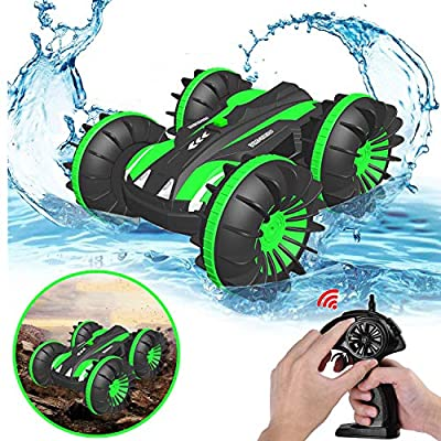 Pussan Gifts for 6-10 Year Old Boys Amphibious Remote Control Car for Kids 2.4 GHz RC Stunt Car for Boys Girls 4WD Off Road Monster Truck Christmas Birthday Gifts Remote Control Boat Summer Beach Toy