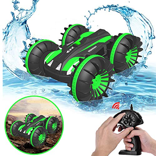 Image of the Pussan Gifts for 6-10 Year Old Boys Amphibious Remote Control Car for Kids 2.4 GHz RC Stunt Car for Boys Girls 4WD Off Road Monster Truck Christmas Birthday Gifts Remote Control Boat Summer Beach Toy