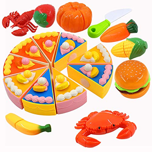 PHYLES Comida de Juguete, Alimentos de Juguete para Cortar, Eeducativos Juguete Set de Frutas Verduras Pizza Animal para Cortar Juguete de Plástico, Temprano Desarrollo Educación Juegos para Niños