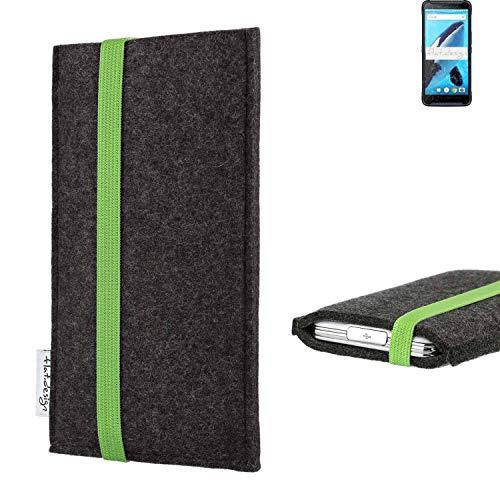 flat.design vegane Handy Tasche Coimbra für Energizer Hardcase H570S - Schutz Hülle Tasche Filz vegan fair grün