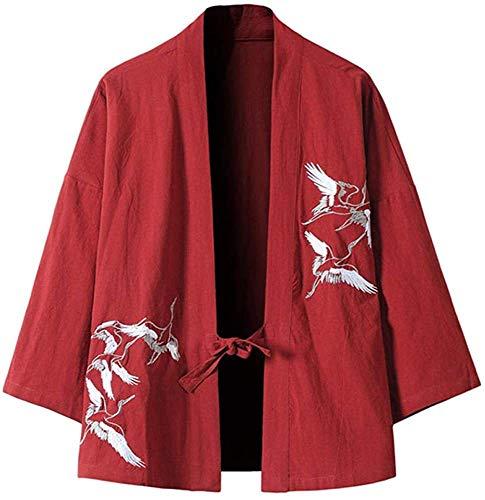 Cardigan Kimono Giapponese da Uomo - Harajuku Cardigan in Stile Antico Accappatoio Cardigan Protezione Solare Abbigliamento Pigiama Giacca Piuma Cappotto Lavorato a Maglia,Red-Medium