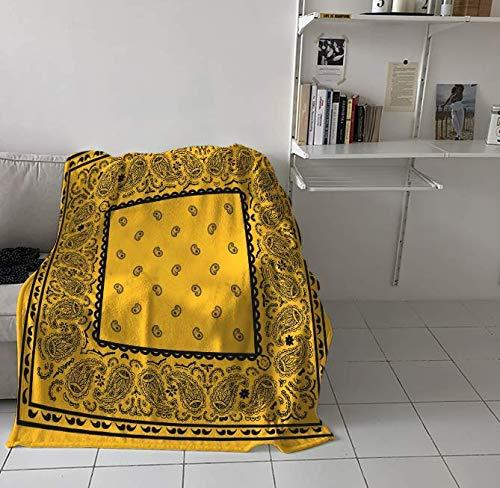 RKZM Goud En Zwart Bandana Bedrukte Nap Deken Zachte Comfortabele Pluche Bloem Dekens Warm Slaapbank Beddengoed 150 * 200Cm