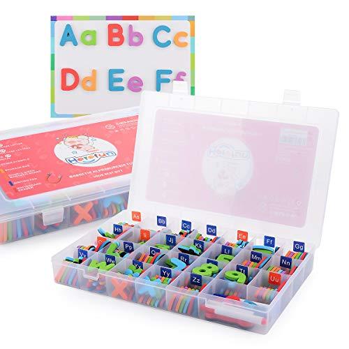 Herefun Letras y Números para Niños, 212Pcs Alfabeto de Espuma Juguetes Educativos para Niños, Juego Educativo para Aprender a Leer