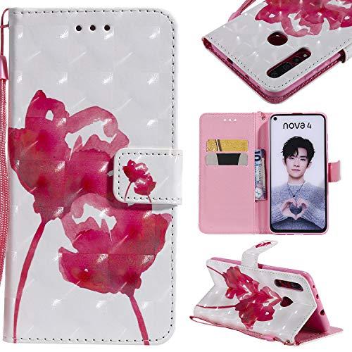 nancencen Hülle Kompatibel mit Huawei NOVA 4, Leder Flip Hülle Brieftasche Etui Schutzhülle für Huawei NOVA 4 - Rote Rose