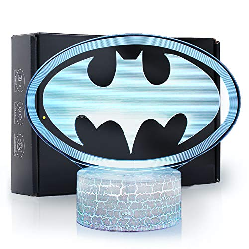 Ikavis 3D LED Superhero Batman Logo Flat Acrylic Illusion Lighting Lamp with 7 Colors and Touch Sensor, Nightlight Gift for Kids, Boys, Girls, Men or Women