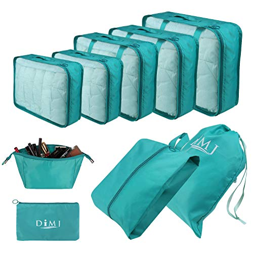 Travel Packing Cubes for Suitcase, 9 PCS Travel Essential Organizer Set Foldable Luggage Bags Lightweight Travel Storage Pouch with Cable Storage Bag (Blue)