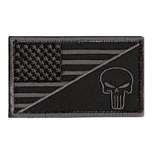Black Subdued USA Flag Punisher Skull ACU Navy Seals