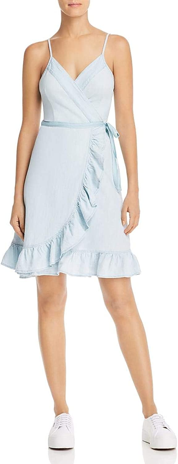 Blank NYC Womens Ruffled Denim Wrap Dress
