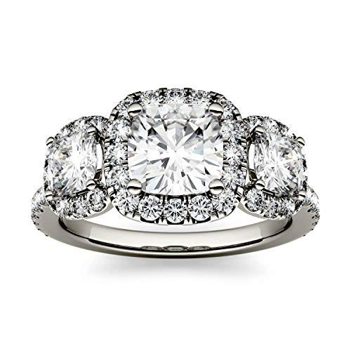 Charles & Colvard Forever One anillo de compromiso - Oro blanco 14K - Moissanita de 6.0 mm de talla cojín, 2.31 ct. DEW, talla 19,5