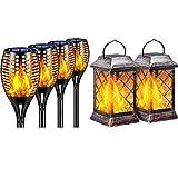 TomCare Solar Lights Outdoor Flickering Flame Decorative Outdoor Lighting Waterproof Dusk to Dawn Auto On/Off for Garden Patio Yard