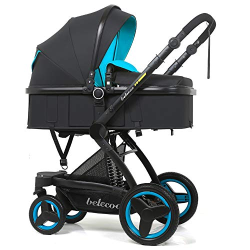 Znesd 2 in 1 Folding vierrädrigen Kinderwagen Hoch Landschaft, Kinderwagen Adjustable Pram-Rüttler Travel System Kinderwagen for Neugeborene 0-3 Jahre alt (Color : D)
