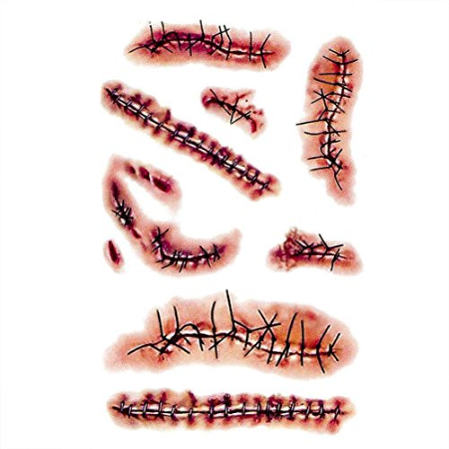 Coobbar 10pcs Halloween Zombie Scars Tattoos With Fake Scar Bloody Costume Makeup Halloween Decoration Terror Wound Scary Blood Injury Sticker (3)