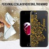 Coque cover case transparente dentelle broderie or avec nom personnalisé iPhone 7