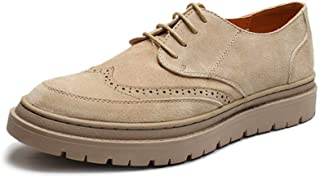 Shhdd Simple and classic Brogue Oxford men dress to pull out the skate sneakers lace-up microfiber leather Dogimo foot drilling platform Galosh sole anti-skid shoes (Color : Khaki, Size : 39 EU)