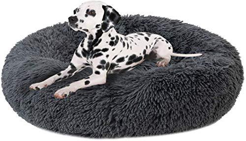 Fengzhe Deluxe Round Pet Bett/Haustier-Nest für Hunde und Katzen, mit Reißverschluss, leicht zu entfernen und zu waschen, Kissen für Katzen/Hunde, 60 cm-120 cm / 5 Größen (90cm, Dark Gray)