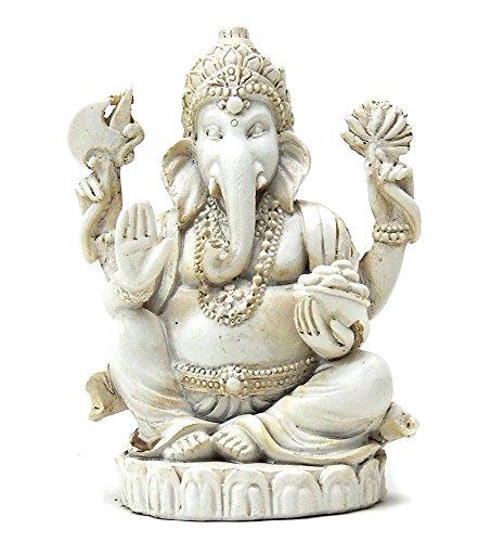 Bellaa 22197 Ganesh Statues Hindu Good Luck God 3 inch White