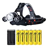 LED Rechargeable 8000 Lumens 18650 Headlamp Flashlight,Kit with 6PCS 3.7V High Capacity Rechargeable Battery + Batteries Charger For Camping,Hiking, Outdoors