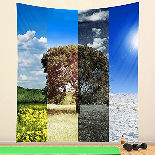 ydlcxst Tapiz Hippie Bohemia Paisaje Natural Cielo Azul Nubes Blancas Árboles Grandes Sala De Estar Dormitorio Arte Decoración De La Pared Tapiz 140X210Cm /4426