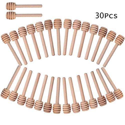 INTVN 30PCS Holz Honiglöffel Honigheber Honigspirale Honigstab 8cm zum Hochzeit Geburtstag Babydusche Weihnachten Party Dessert Werkzeug