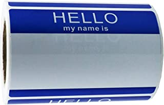 "Hybsk Hello My Name Is BLUE Name Tag Identification Stickers 3-1/2"" x 2-3/8"" Total 200 Labels Per Roll"