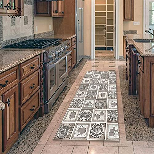 OPLJ Alfombrillas geométricas Retro alfombras de Cocina vajilla celosía alfombras Antideslizantes alfombras de Cocina alfombras de Pasillo de Sala de Estar A5 50x160cm