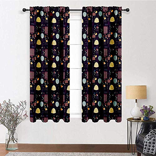 GugeABC Curtains & Drapes 63 inch Length, Hedgehog Window Curtains 72' x 63' - Doodle Forest Theme Pattern with Porcupine Mushroom Trees Flowers and Plants Print, Multicolor