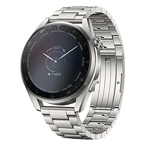 HUAWEI WATCH 3 Pro- 4G Smartwatch, 1.43'' AMOLED Display, eSIM Telefonie, 5 Tage Akkulaufzeit, 24/7 SpO2 & Herzfrequenzmessung, GPS, 5ATM, 30 Monate Garantie, Edelstahlarmband