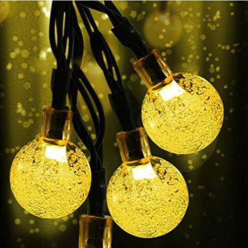 Led-zonnelampje, warm wit lichtsnoer met 50 lampen, werkt op batterijen, 8 modi, geschikt voor Kerstmis, decoratie, party, buitenverlichting