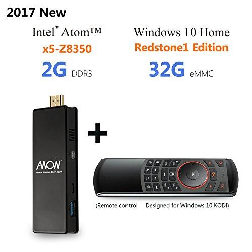 AWOW PC Stick Intel Mini Desktop Computer 32GB ROM 2GB RAM - Including Windows 10 Intel Atom Quad Core Wifi Wlan Bluetooth 4.0 HDMI (Equip with air mouse)
