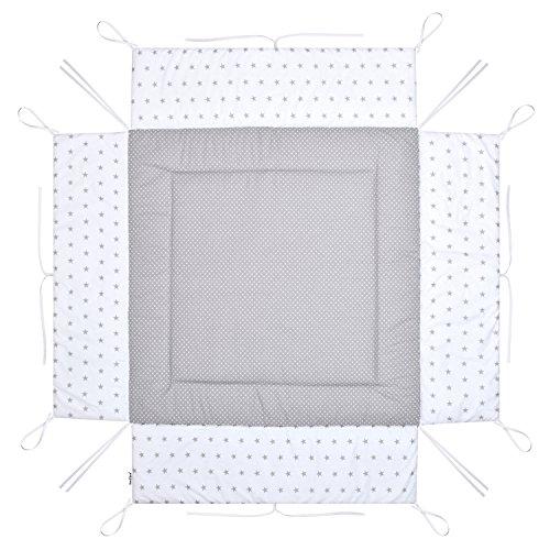 Amilian Laufstalleinlage Laufgittereinlage Schutzeinlage Baumwolle für Laufställe Laufstall Spielstall 100 x 100 cm Bezug 100% Baumwolle weich gepolstert LAU10