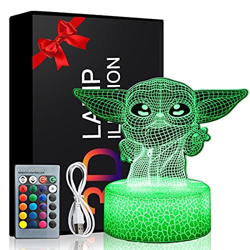 Luz de noche de ilusión de Star Wars modelo 3d 16 colores con control remoto juguetes de anime y interruptor táctil regalos de cumpleaños para niños y niñas