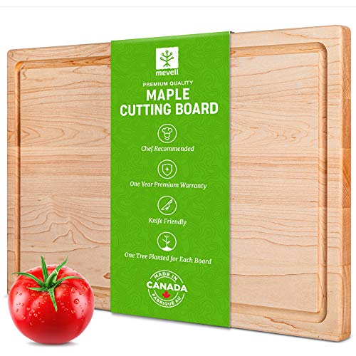 Maple Cutting Board by Mevell - Premium Large Cutting Board for Kitchen -Reversible 17x11 with Juice Groove, Made in Canada