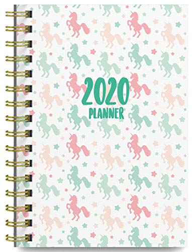 2020 Unicorns Soft Cover Academic Year Day Planner Book by Bright Day September 2019 to December 2020, Weekly Monthly Dated Agenda Spiral Bound Organizer, 6.25 x 8.25 Inch,