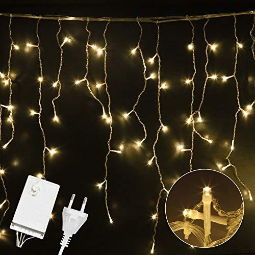 VINGO 600er LED 15M Eisregen Lichterkette, Warmweiß LED Regenkette, mit 8 Modi, Lichtervorhang Eiszapfen, Außen Innen Deko für Weihnachten Garten Party Hochzeit, IP44 Wasserdicht