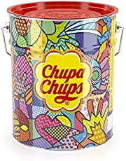 Chupa Chups best of lolly's emmer, 150 lolly's in opbergblik, Pop-Art metalen blik met 6 smaken - snoep om te delen, cadeau te geven, op feestjes of op kantoor