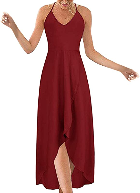 Onegirl Women S Summer Sexy Strappy Off Shoulder Maxi Dress V Neck Solid Color Irregular Hem Bohe Long Dresses
