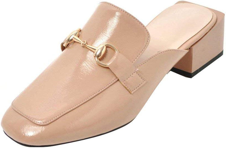 Vitalo Women's Low Block Heel Open Backless Loafer Ladies Slip On Buckle Mules