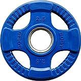Body-Solid Olympic 4-Griff Farbige Gummi Orck-50 mm Hantelscheibe, Blau, 2.5 kg
