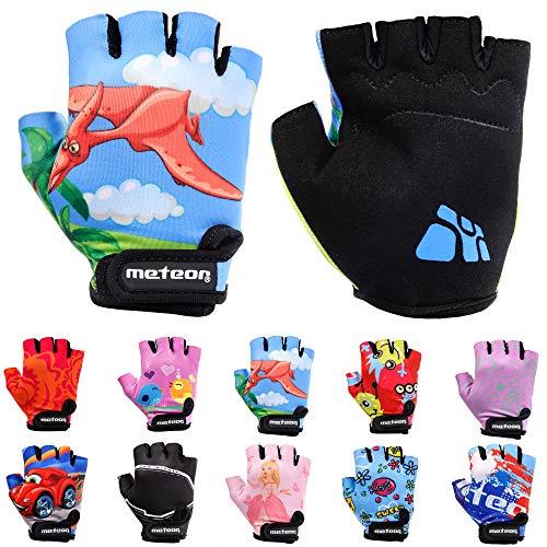 Meteor Unisex Kinder Fahrradhandschuhe Bike - Gel BMX Handschuhe, DINOSAUR, Gr.-Jr M/ Handweite- 7-7.5cm