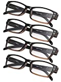 Reading Glasses 4 Pairs Fashion Spring Hinge Readers Great Value Quality Glasses (Brown)