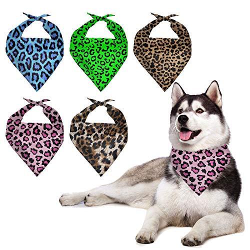 HUGS IDEA Juego de 5 bandanas para perro, diseo de leopardo, guepardo de polister, bandanas de perro, bufanda de perro, bandana, babero, triangular, accesorios de bufanda