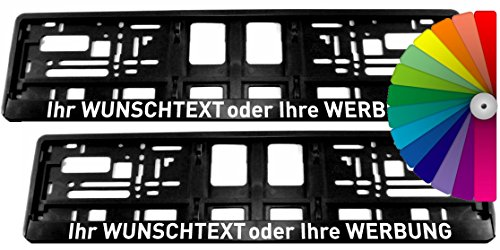 Satz (2 Stück) Kennzeichenhalter - MIT INDIVIDUELLEM WUNSCHTEXT - VOLLUMRANDUNG - Beschriftung Werbung Spruch Text personalisiert
