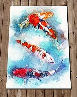 Koi Fish Painting Print - Japanese Carp Wall Art - Pond Fish Watercolor - Sea Life - Tank Home Decor - Gift Idea - Housewarming
