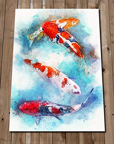 Amazon Com Koi Fish Painting Print Japanese Carp Wall Art Pond Fish Watercolor Sea Life Tank Home Decor Gift Idea Housewarming Handmade