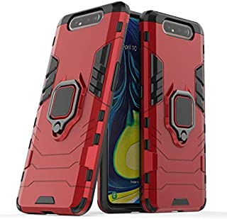armor case for Samsung Galaxy A80 magnetic Shockproof Car Ring Back Cover - Red