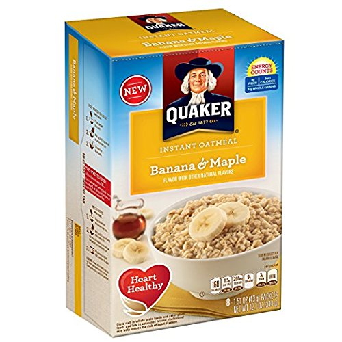Quaker Instant Oatmeal Breakfast Cereal, Banana and Maple, 12.1 Ounce (Pack of 2)