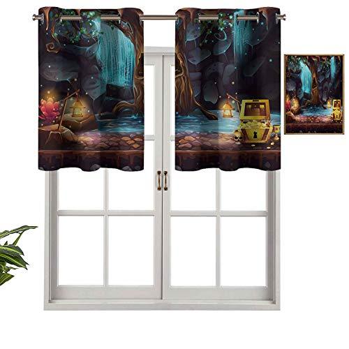 Cortinas con ojales, aislamiento térmico, diseño de dibujos animados, paisaje de cueva, con un árbol grande, lámparas de pecho y cascada, juego de 2, 137 x 60 cm para dormitorio, baño y cocina
